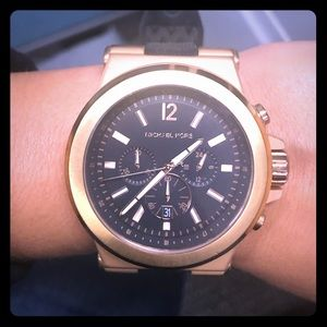 Black and gold large faced men's watch